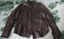 All Saints Brown Distressed Look Real Leather Rock Shirt/Jacket XXL
