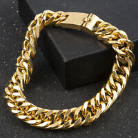 Fashion Men's Jewelry Heavy Solid Gold Plated Curb Chain Bracelet Jewelry