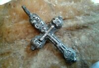 "ANTIQUE c.17-18th CENTURY SOLID SILVER ""OLD BELIEVERS"" ORTHODOX ""SKULL"" CROSS"