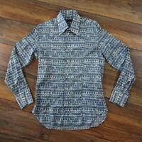 "Daks Size 16.5 40"" Blue White Long Sleeve Retro Print Shirt Party Mens Casual"