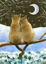 ACEO art print from art painting Cat 584 siamese winter by L.Dumas