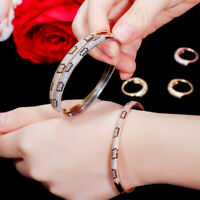 Roségold Zirkonia Schlange Manschette öffnen Armreif Armband für Frauen Geschenk