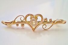 Fine Antique Victorian 9ct Gold Natural Rock Crystal Witches Heart Brooch c1890