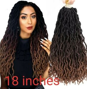 "18"" LONG faux Locs curly Goddess CROTCHET  Crochet pre looped marley dred Braids"