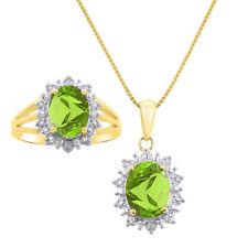 Princess Diana Inspired Halo Diamond & Peridot Matching Pendant Necklace and Ri