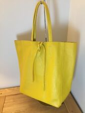 Italian Soft Leather Yellow Tote /shoulder Bag. Attached Purse Great SUMMER BAG