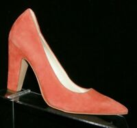Anne Klein 'Hollyn' orange suede pointed toe slip on block pump heels 6.5M