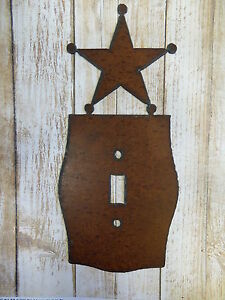 Sheriff Badge Western Cowboy metal light switch plate cover rustic home cabin