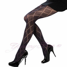 Yummy Bee Sexy Silky Seam Tights Black Diamond Party Pantyhose Plus Size 8 - 22