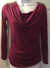 A|X ARMANI EXCHANGE Purple Plum Drape Cowl Neck Shirt Studded Shoulder Top Sz XS