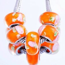 5* Fashion Orange Lampwork Murano Glass Silver Plated Charm Beads Fit Bracelet