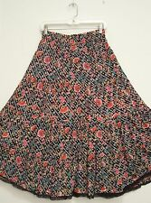4 Tiered Multi-Color FLORAL 100% Cotton Peasant Broomstick Skirt Lace Hem 16/XL