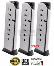 NEW 3 PACK 8RD ACT-MAG 45 ACP 1911 Full Size 8 Round Handgun Magazine Nickel