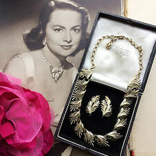 Vintage 50s 60s MAD MEN Era Signed CORO Gold Tone NECKLACE & EARRINGS SET