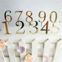 Birthday Cake Number Topper Acrylic Golden Annivesary Party Supplies Decor - UK