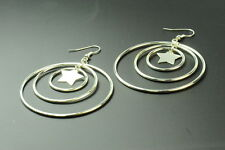 DISCO INSPIRED SILVER TONE STAR SHAPED LADIES HANG FASHION EARRINGS(ZX1)