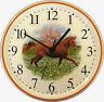 150609 Artline Keramik Wanduhr Pferd in der Natur rotbrauner Rand hbm.Quarzwerk