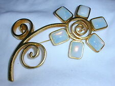 WOW! RUNWAY ENORMOUS GIVENCHY FLOWER BROOCH WITH GLASS MOONSTONES!