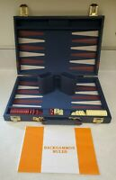 Traval Backgammon Faux Navy & Burgundy Leather Folding Case - Complete Good