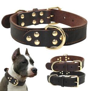 Soft Real Leather Dog Collars for Large Breeds Pitbull Boxer Doberman Rottweiler
