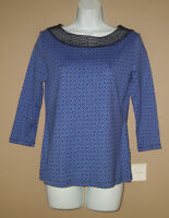 Womens Petite Size Small PS Long 3/4 Sleeve Blue Patterned Blouse Top Tee Shirt