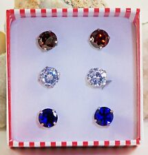 3 Pair Lab Created Red, White & Blue Diamond 9 mm Round Stud Earrings TCW 7.50