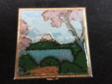 Vintage Limoges Limited Pill Box Hand Crafted Painted Mt Fuji Square Gold Tone