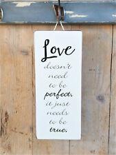 """Schönes Liebeserklärung, """"LOVE doesn´t need to be perfect.."""", Metallschild, NEU"""