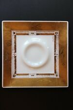 "Retro Georges Briard 10"" Square White Opal Glass Dish Golden Harvest 22Kt Gold"