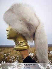 Davy Crockett White FOX Fur Hat tail Schapka Pelzmütze Fellmütze Fuchs Mütze