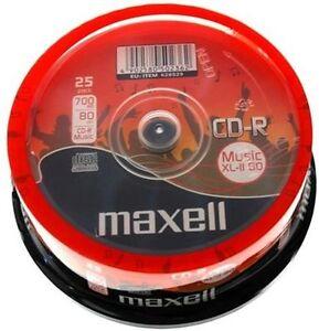 25 Maxell Rohlinge CD-R Audio 80 Minuten Musik Spindel
