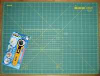 """OLFA Rotary Cutter RTY-2/G & Cutting Mat RM-IC-S 24"""" x 18"""" Fabric Leather Paper"""