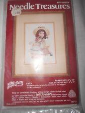 "Jan Hagara Needle Treasures Crewel Picture Kit Emily Girl & Doll 5""x7"""