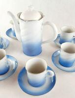 FREIBERGER Porzellan Vintage Service blau weiß Silberrand Inglasur 6 Person DDR