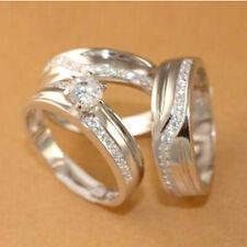 Her Bridal Band Engagement Ring Set Diamond Wedding 14K White Gold Trio His