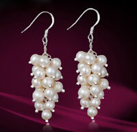 Genuine White Cultured Freshwater Pearl Cluster Dangle Sterling Silver Earrings