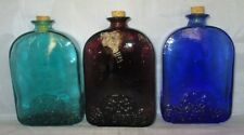 Flask Shaped Bottles set of 3 Cobalt Blue, Amethyst, Aqua Green w/ cork tops