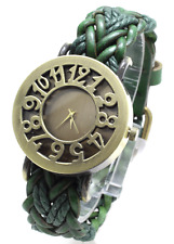 VINTAGE RETRO BEADED BRACELET STYLE WOMEN WRIST WATCH ANTIQUE  LEATHER Strap