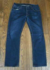 Mens NUDIE Hank Rey Jeans W34 L34 Blue Regular Straight Leg NJ3154