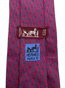 "Hermes Men's Red/Blue Interlocking Geometric Chain Links Silk Tie 7312 EA 3.5"""