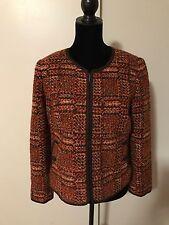 NWOT Talbots Women's Size 10P Rust Brown Wool Blend Collarless Zip Up Blazer