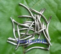 50ps Dull Silver Curved Smooth Curly Pipe Tube Spacer Beads DIY Jewelry 25X2mm