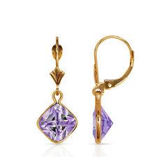Bezel Square Alexandrite Drop Dangle Leverback Earrings 14K Yellow Gold