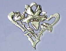Art Nouveau style Violets design Silver Plated Brooch - special Gift