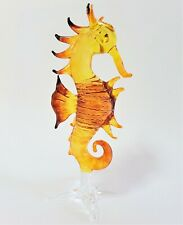 Golden Brown LARGE Curio Glass SEAHORSE Glass Figure Glass Animal Glass Ornament