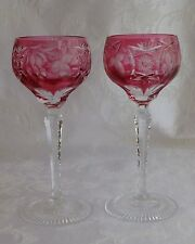 Nachtmann Traube Grape 2 Hock Wine Glasses Red cut to clear crystal
