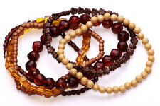 FUNKY SET OF 6 BROWN FLEXIBLE BEADED SPARKLY BRACELETS ECO SUMMER TREND (ZX32)