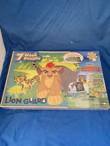 Disney Junior The Lion Guard  7 Wood Puzzles With Storage Box 12-24 Pieces NEW