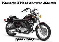 Yamaha XV250 Virago XV 250 Service Maintenance Repair Rebuild Manual 1988 - 2007