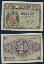 ESPAÑA año 1938. 1 peseta ABRIL serie D. Nº 1152423 Escudo Franco. Sin Circular